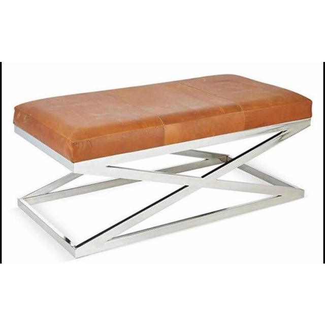 Taylor Burke Home Contemporary Chrome X Bench - Image 3 of 3