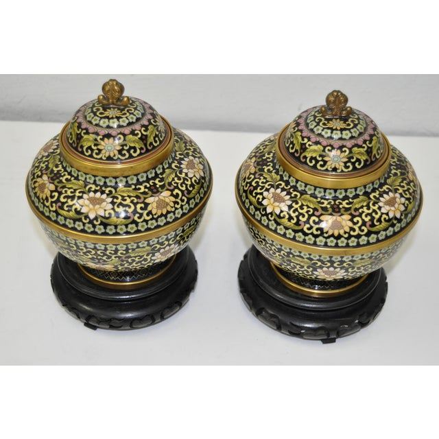 Image of Vintage Cloisonne Urns with Lids
