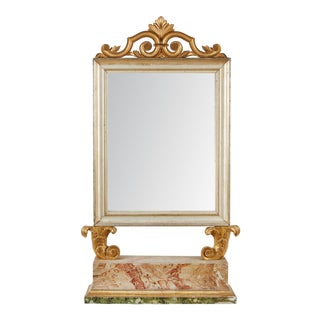 18th Century Italian Baroque Mirror with Faux Marble Base