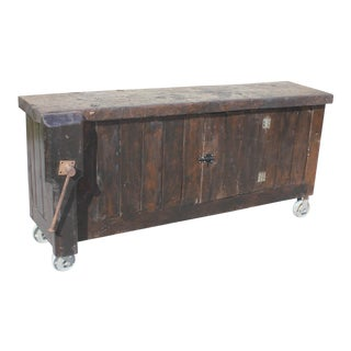 Antique French Country Solid Walnut Workbench