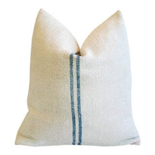 Custom Blue Stripe French Grain Sack Feather & Down Pillow