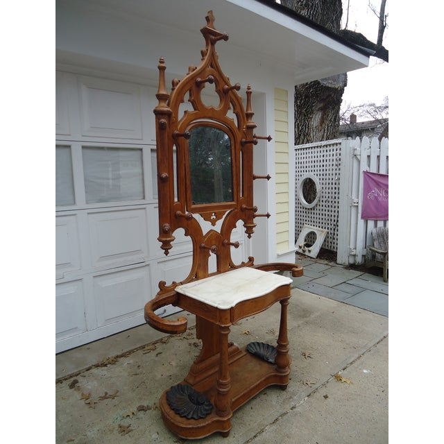 Tall Gothic Style Marble & Wood Coat Hanger Stand - Image 3 of 8
