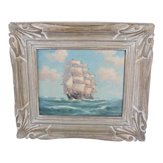 Vintage Ship Under Sail Oil on Board by G.H. Wheatley