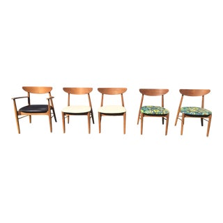 Mid-Century Stanley Walnut Dining Chairs - Set of 5