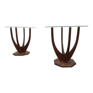 Mid-Century Solid Walnut Sculptural Tables - A Pair