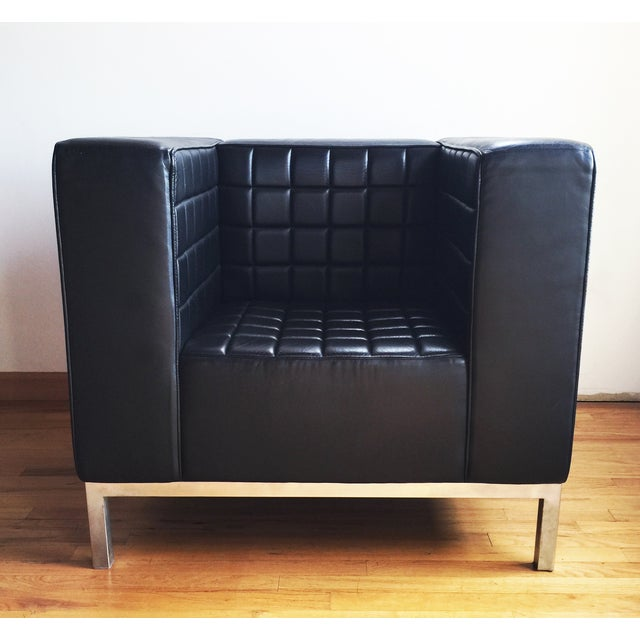 Custom Leather Tufted Club Chair - Image 5 of 8