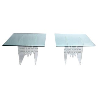 Stacked Lucite and Glass Top Side Tables , A Pair