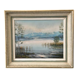 French Vintage Signed Landscape Painting With Original Frame