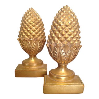 Pineapple Gold Gilded Bookends - A Pair
