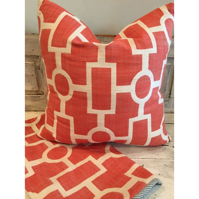 Geometric Coral and Off White Pillows - 2 - Image 3 of 5