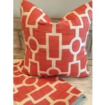 Image of Geometric Coral and Off White Pillows - 2