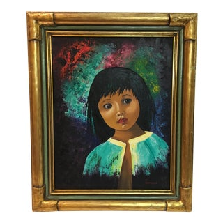 Vintage Framed Portrait Painting of a Girl, Signed