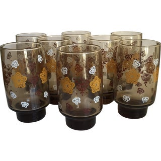 Mid-century Smoky Butterfly Glasses - Set of 8
