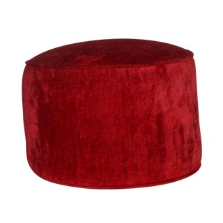 Red Ottoman with Velvet Upholstery