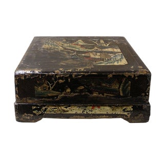 Vintage Chinese Square Wood Black Lacquer Box