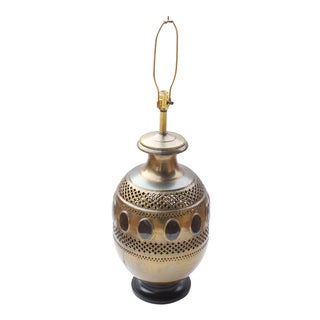 Large Pierced Brass Lamp with Horn Inlay