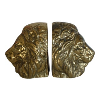 Vintage Solid Brass Lion Head Bookends - Pair