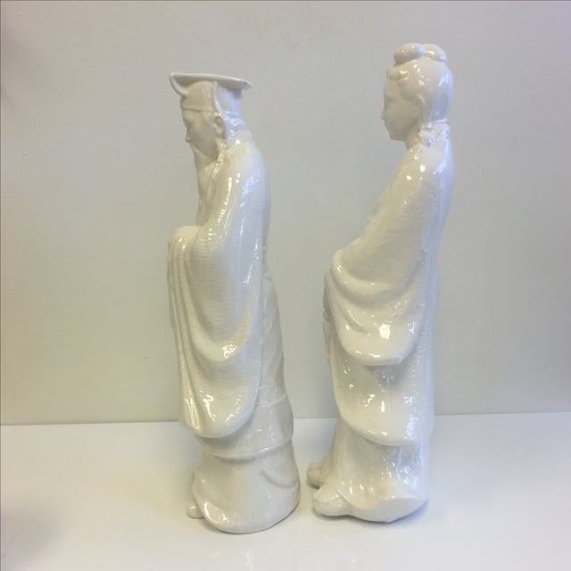 White Chinoiserie Statues - Pair - Image 6 of 11