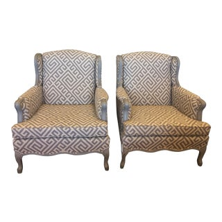 Upholstered & Painted French Bergere Chairs - A Pair