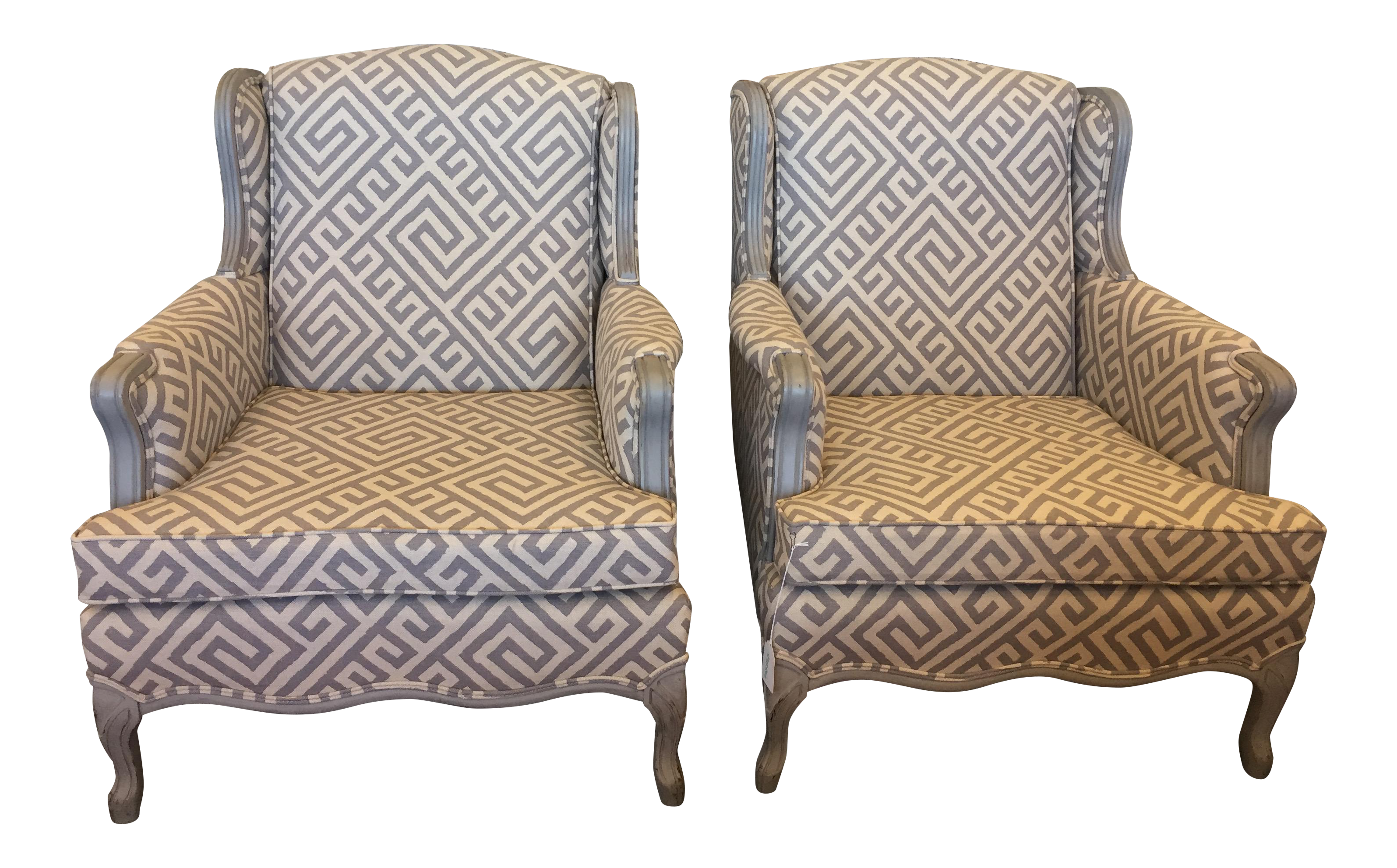 upholstered u0026 painted french bergere chairs a pair