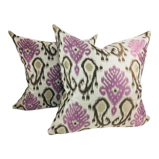 Lavender and Brown Brocaded Pillows - A Pair