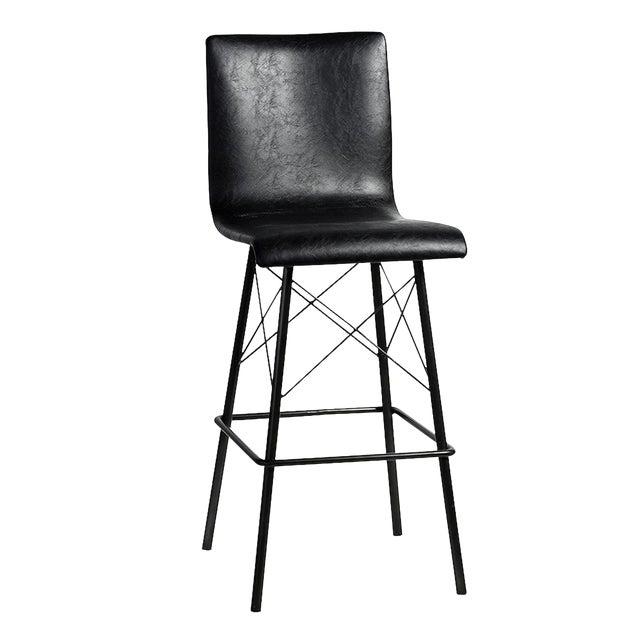 Image of Black Leather & Iron Bar Stool