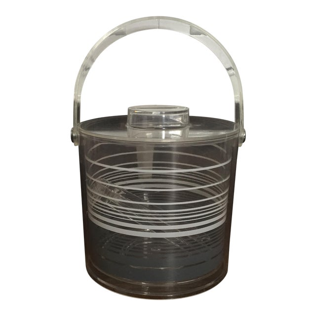 Mid-Century Modern Retro Lucite Ice Bucket With Tongs - Image 1 of 11
