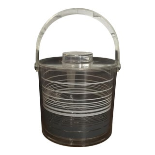 Mid-Century Modern Retro Lucite Ice Bucket With Tongs