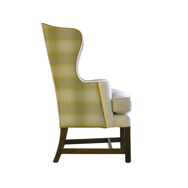 Vintage Plaid Reupholstered Wingback Chair - Image 2 of 4