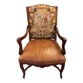 Antique Bergere Chair With Original Needlepoint