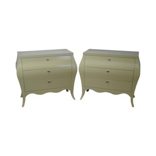 Drexel Heritage Yellow Painted Bombe Chests - A Pair