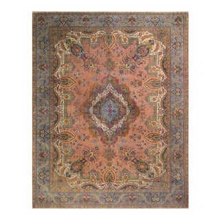 Hand Painted Color Reform Sam Rose/Lt. Blue Wool Rug (9'9 X 12'7)