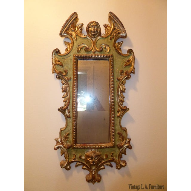 Vintage Rococo Green & Gold Gilt Carved Wood Mirror - Image 2 of 11