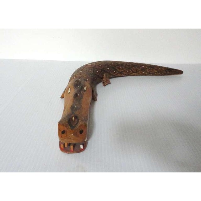 Hand Carved & Painted Articulated Folk Art Alligator - Image 4 of 7