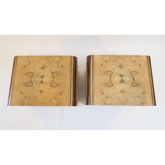Image of Henredon Vintage Burlwood Side Tables - A Pair