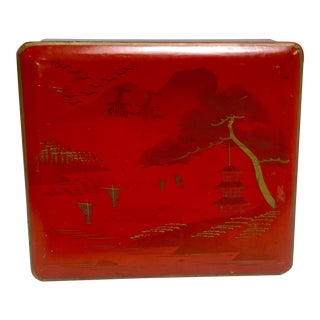 Japanese Hand Painted Wooden Box