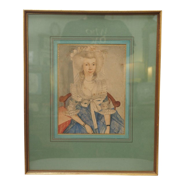 Image of 18th Century Style Watercolor Portrait of a Young Lady