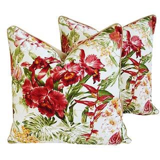 Custom Tropical Orchid Barkcloth Pillows - a Pair