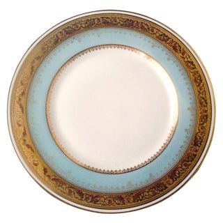 12 ANTIQUE LIMOGES PRETTY ROBIN'S EGG BLUE GOLD ENCRUSTED PLATES