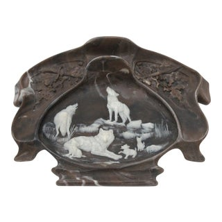 Inlaid Stone Wolf Pack Desk Tray
