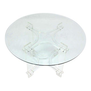 Lucite Base and Glass-Top, Mid-Century Modern Gueridon or Occasional Table