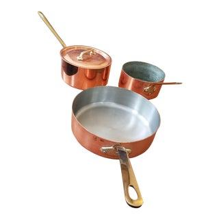 Vintage William-Sonoma French Copper Pot Set - 3 Pieces