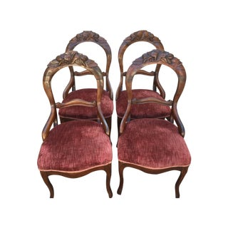 Antique Victorian Parlor Chairs - Set of 4
