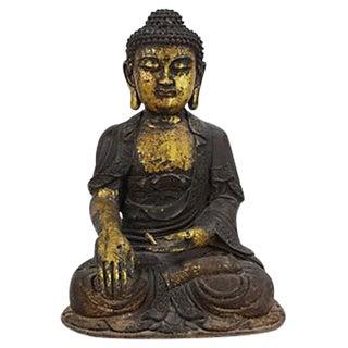 Large Cast Iron Buddha with Gold Leaf
