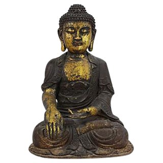 Large Cast Iron Buddha with Gold Leaf
