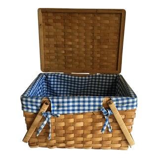 Vintage Gingham Picnic Basket