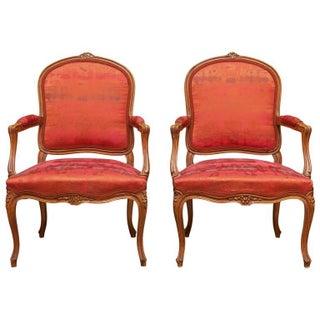 19th Century Louis XV Walnut Armchairs - Pair
