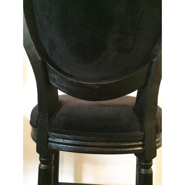 Black Velvet French Bar Stools - Set of 3 - Image 4 of 4