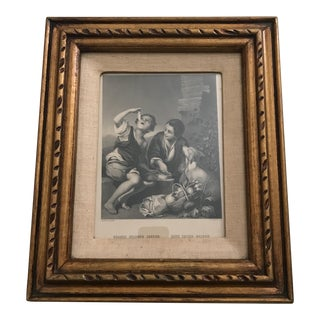 "Framed 1870 ""Boys Eating Melons"" Engraving"