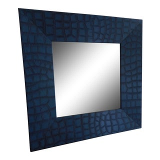 Modern Blue Leather Faux Crocodile Mirror